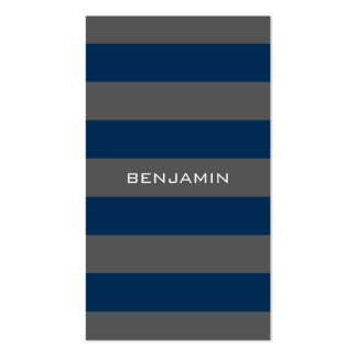 Navy Blue and Gray Rugby Stripes with Custom Name Pack Of Standard Business Cards
