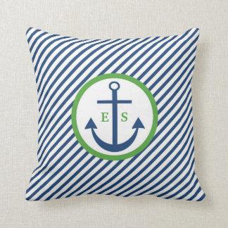 Navy Blue and Green Anchor Monogram Pillow