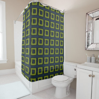 Navy Blue and Green Square / Box Pattern Shower Curtain