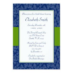 83c9b15178a3 Navy Blue and Green Swirl Damask Bridal Shower Invitation
