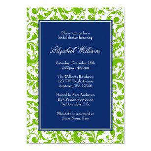45d679cdaad7 Navy Blue and Green Swirls Damask Bridal Shower Invitation