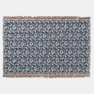 Navy Blue and Grey Custom Design Throw Blanket