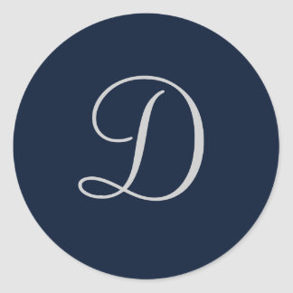 Navy blue and grey monogram sticker