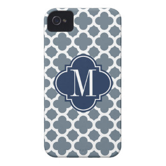 Navy Blue and Grey Quatrefoil Custom Monogram Case-Mate iPhone 4 Case