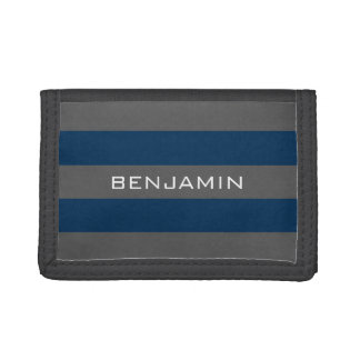 Navy Blue and Grey Rugby Stripes with Custom Name Trifold Wallet