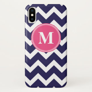 Navy Blue and Hot Pink Chevron Custom Monogram iPhone X Case