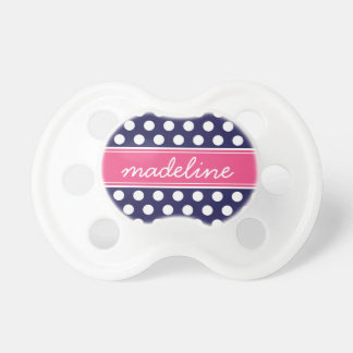 Navy Blue and Hot Pink Polka Dots Monogram Dummy