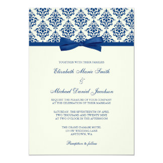 Navy Blue and Ivory Damask Bow Wedding Card