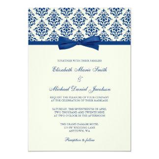 Navy Blue and Ivory Damask Bow Wedding Card