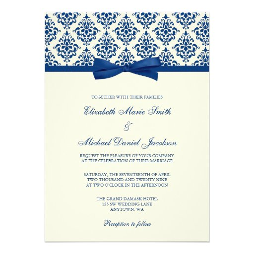 Navy Blue and Ivory Damask Bow Wedding Personalized Announcement