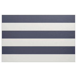 Navy Blue and Ivory Wide Stripes Large Scale Fabric