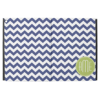 "Navy Blue and Lime Green Chevron Pattern iPad Pro 12.9"" Case"
