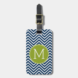 Navy Blue and Lime Green Chevrons Custom Monogram Luggage Tag