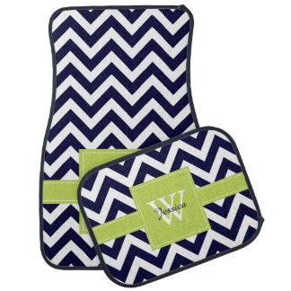 Navy Blue and Lime Green Chevrons Monogrammed Car Mat