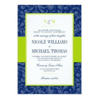 Navy Blue and Lime Green Damask Wedding Invitation