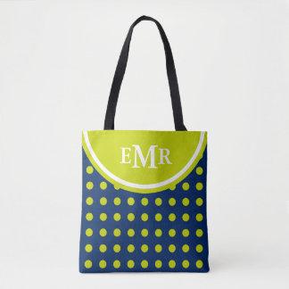Navy Blue and Lime Green Polka Dot Monogram Tote Bag