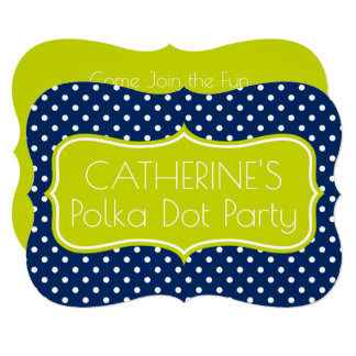 Navy Blue and Lime Green Polka Dot Personalized Card
