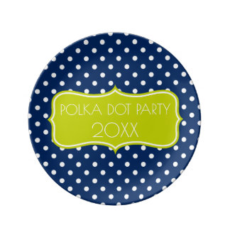Navy Blue and Lime Green Polka Dot Personalized Porcelain Plate