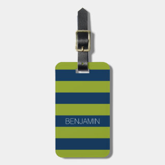 Navy Blue and Lime Green Rugby Stripes Custom Name Bag Tag