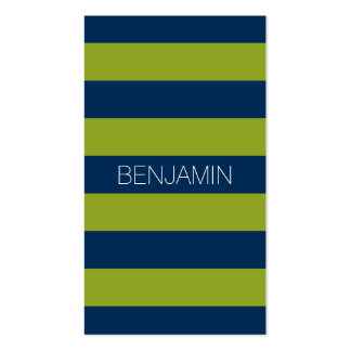 Navy Blue and Lime Green Rugby Stripes Custom Name Pack Of Standard Business Cards