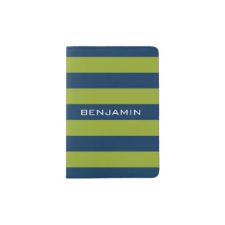 Navy Blue and Lime Green Rugby Stripes Custom Name Passport Holder