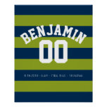 Navy Blue and Lime Green Rugby Stripes Name Number