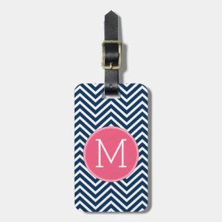 Navy Blue and Magenta Chevrons Custom Monogram Luggage Tag