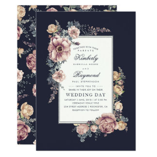 Navy Blue and Mauve Vintage Floral Wedding Card