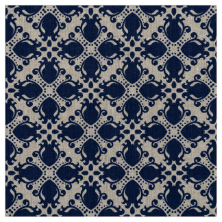 Navy blue and natural fabric