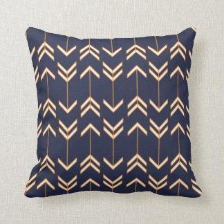 Navy Blue and Orange Arrow Pattern Bohemian Boho Cushion