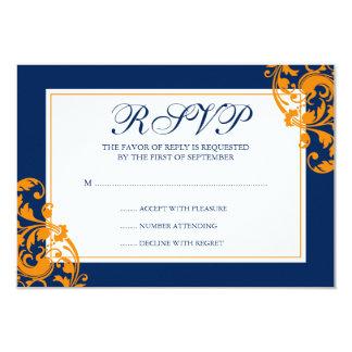 Navy Blue and Orange Flourish Swirls Wedding RSVP 9 Cm X 13 Cm Invitation Card