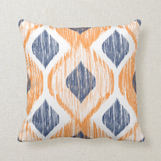 Navy Blue and Orange Ogee Ikat Pattern Throw Pillow