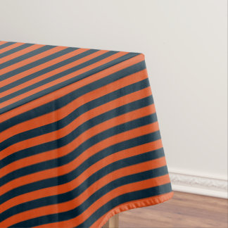 Navy Blue and Orange Stripe Tablecloth