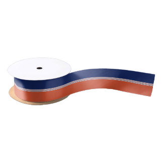 Navy Blue and Orange Stripes Satin Ribbon