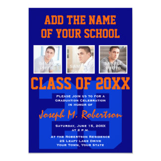 Navy Blue and Orange Team Graduation Sports Event Card