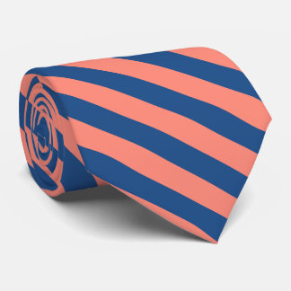 Navy Blue and Peach Orange Tie