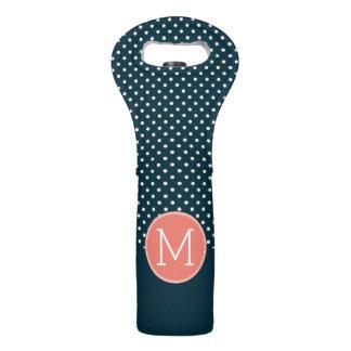Navy Blue and Peach Polka Dots Custom Monogram Wine Bag