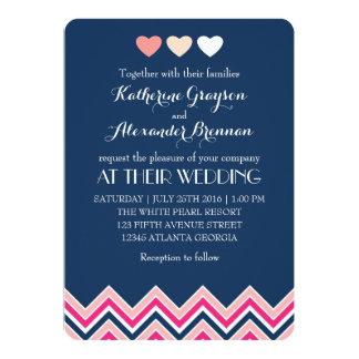 Navy Blue and Pink Chevron Wedding Invitation Love
