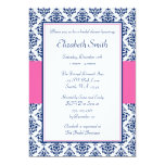 Navy Blue and Pink Damask Bridal Shower 13 Cm X 18 Cm Invitation Card