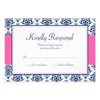 Navy Blue and Pink Damask Response Card Invitations
