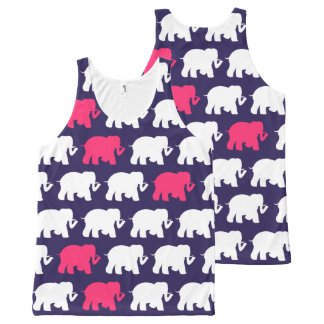 Navy blue and pink elephants All-Over print tank top
