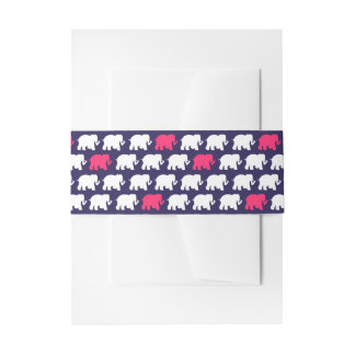 Navy blue and pink elephants belly band invitation belly band
