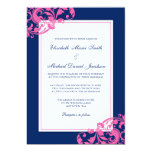 Navy Blue and Pink Flourish Swirls Wedding