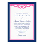 Navy Blue and Pink Flourish Wedding Invitations Personalised Invites