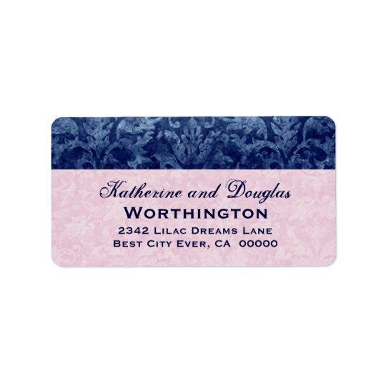 Navy Blue and Pink Grunge Damask Wedding V5 Label