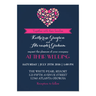 Navy Blue and Pink Love Heart Wedding Invitation