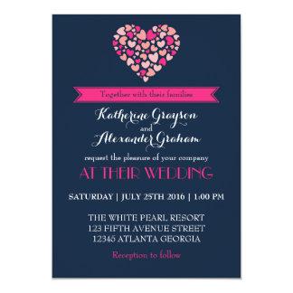 "Navy Blue and Pink Love Heart Wedding Invitation 5"" X 7"" Invitation Card"