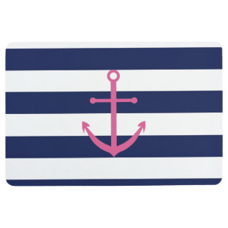 Navy Blue and Pink Nautical Rugby Striped Rug Floor Mat