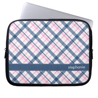 Navy Blue and PInk Plaid Pattern Laptop Sleeve