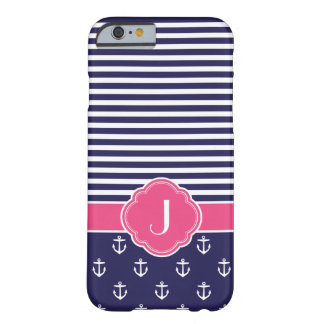 Navy Blue and Pink Preppy Nautical Custom Monogram Barely There iPhone 6 Case